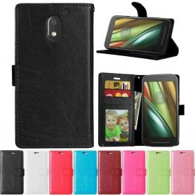 Mobilplånbok 3-kort Motorola Moto E3 (3rd Gen) mobil skal fodral skydd