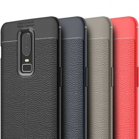 Läder mönstrat TPU skal OnePlus 6 mobilskal silikonskal