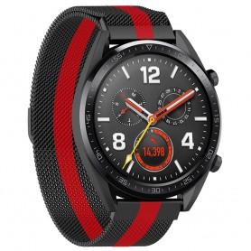 Milanese RSF stål Huawei Watch GT/Magic/TicWatch Pro - Svart/röd