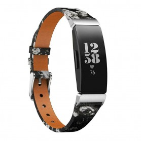 Flower Läder Armband FITBIT Inspire / Inspire HR - Svart