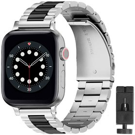 Armband Stainless Steel Apple Watch 6 (44mm) - Silver/black